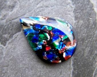 Vintage Mulit Colored Harlequin Preciosa Czech Glass Teardrop Cabochon Stone-1