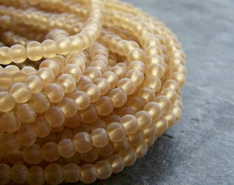 Bead-Vintage Glass-Frosted Glass Bead-Matte Glass Bead-Organic Beads-Bohemian Beads-3mm-Full Strand