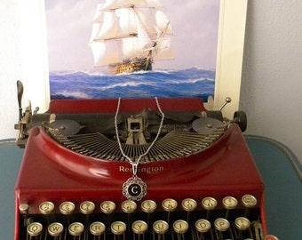 Filigree Round Typewriter Key Pendant - Initial C - Historical Charm Twilight - Antique Black Key with White Font - Steampunk Chic
