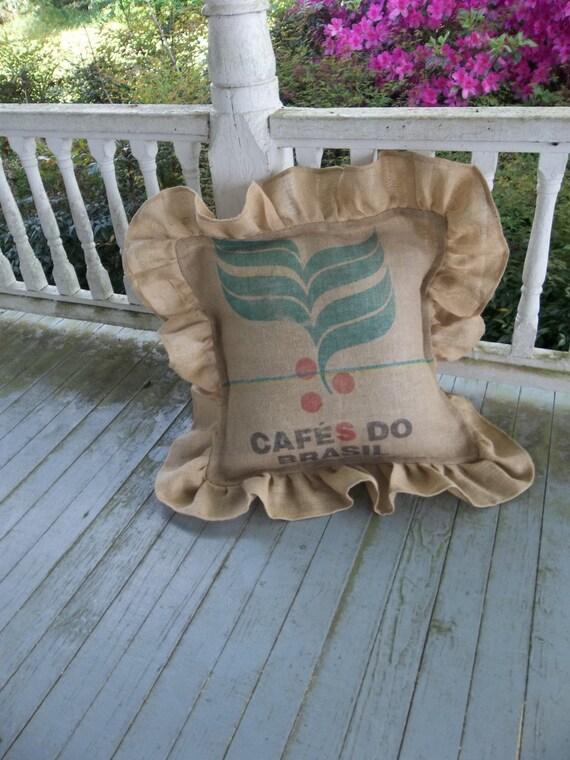 24 coffee bag pillow ruffled coffee sack burlap pillow for Decorative burlap bags