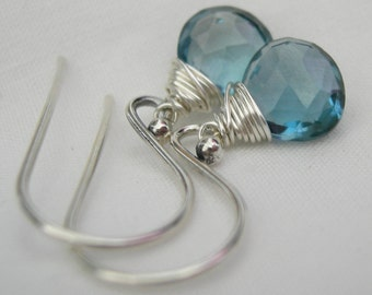 London Blue Topaz Sterling Silver Earrings December Birthstone