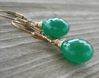 Green Onyx Gold Fill Wire Wrapped Earrings