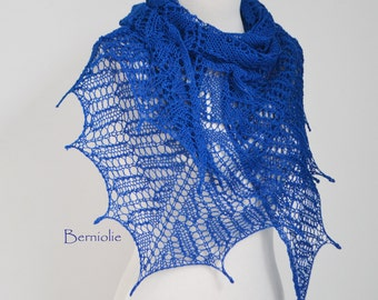 Lace knitted shawl, Sapphire, Blue, M194