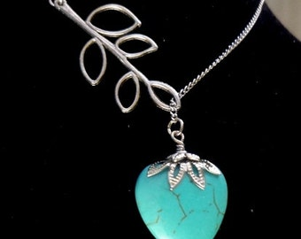 Turquoise Necklace, Heart Necklace, Blue Necklace, Lariat Necklace