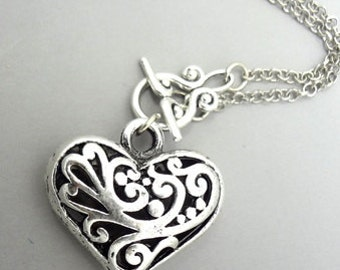 Heart Necklace, Heart Pendant Necklace, Filigree Heart Necklace, Toggle Clasp Necklace, Love Necklace