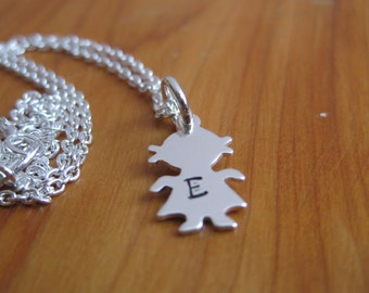 Child's silhouette initial charm necklace mommy necklace