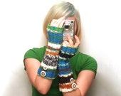 Hand Knit Extra Long Fall Fingerless Gloves in Peruvian Colors - MADE TO ORDER