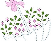 Floral Umbrella Embroidery Pattern for Greeting Cards