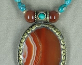 Nepali Banded Agate and Turquoise Necklace