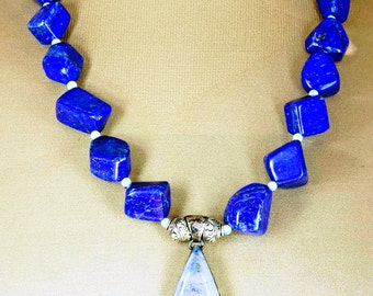 Stunning Moonstone Pear with Lapis Nuggets