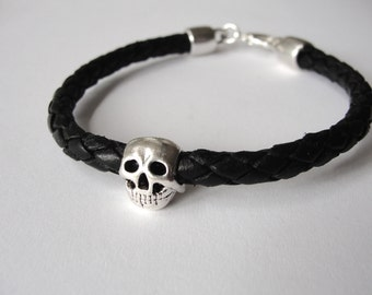 Skull Bracelet skull Leather Bracelet black braided leather skeleton October gifts Halloween jewelry