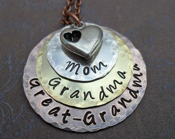 Mom Grandma Great-Grandma Necklace with Heart Mothers Day Hand Stamped Necklace- S205