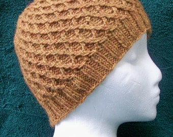 Handknit Cloche Hat in Mustard Gold Diamond Pattern