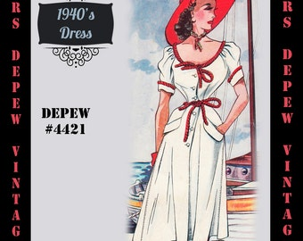 Vintage Sewing Pattern 1940's Sun Dress in Any Size # 4421 Draft at Home Pattern - PLUS Size Included -INSTANT DOWNLOAD-