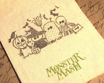 5 Halloween Treat Bags - 4 x 6 inch - Hand stamped - Muslin - Little Monsters