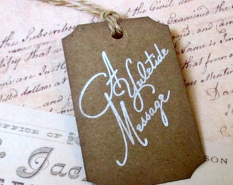 Christmas Gift Tags -  Set of 5 - Hand stamped - Kraft