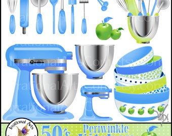 50's Periwinkle Set 1 Kitchen Digital Clipart Graphics - 16 baking supplies: whisk, rolling pin, acid apple, etc {Instant Download}