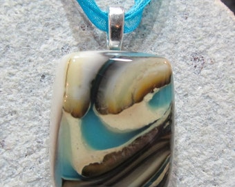 Fused Glass Pendant with ribbon necklace:  Welcome Reaction