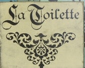 FRENCH TOILET SIGN / La Toilette sign / French bathroom sign / hand painted sign / French La toilette / French le bain / la toilette sign