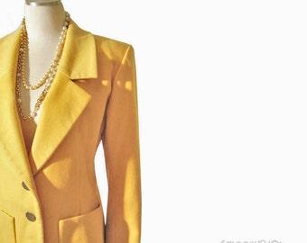 Vintage 80s YSL Egg Yolk Yellow Cashmere Jacket // Vintage Yves St. Laurent Blazer M L