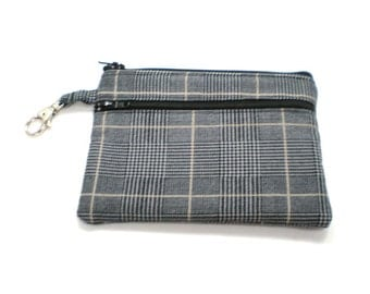Larger Zippered Wallet Change Purse Gadget Case  Black and Tan Plaid Suiting