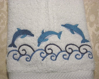 Leaping Dolphins  Machine Embroidered Terrycloth Hand Towels - FREE U.S. SHIPPING