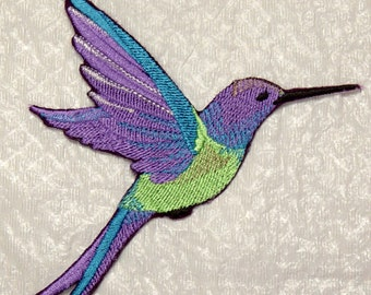 "Stunning Extra Large HUMMINGBIRD in FLIGHT Embroidered Iron on Patch - applique - 6.4"" x 5.9"" - Made in USA"