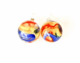 Red blue yellow clear glass cats eye marble post earrings