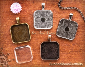 10 Bezel Pendants For Resin ~ 1 Inch PUFFY Square Pendant Blanks ~ Bezel Cabochon Settings ~