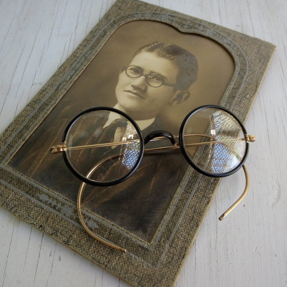 Wire Frame Glasses Vintage : Vintage round wire frame eye glasses frames 1920s Buster