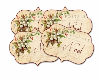 Christmas Noel Gift Tag, Lily of the Valley Tag, Vintage Christmas Gift Tag, Happy Holidays, Party Favor  Bag Tag, Stocking Stuffer Gifts