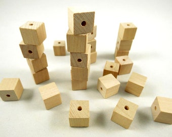 50 Wood Square Beads, Square - 1/2 inch - Wood Cube - Unfinished Wooden Square Beads for DIY