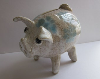 Flowered Piggy Bank Handmade Stoneware Pottery