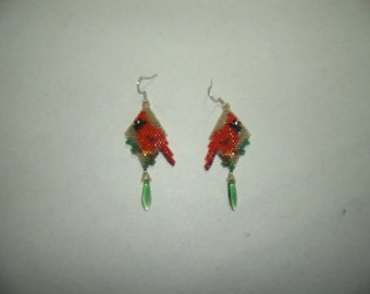 Brick Stitch Cardinal Delica Seed Beading Dangle PDF E-File Earring Pattern-314