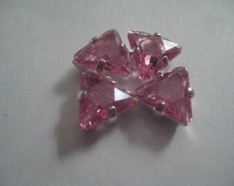 Lot of 4 8mm Rose Unfoiled Trillion Triangle Cut 4722  SwarovskiRhinestones in Silvertone Sew On settings