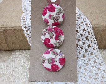 3 Pink Floral Liberty of London Print Buttons