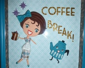 Shipping for Tracey Kitsch Kitchen Anthropormorphic Shadowbox Art Coffee Break