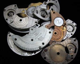 Destash Steampunk Watch Clock Parts Movements Plates Art Grab Bag RP 47
