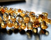 Citrine Gemstone Briolette AAA Yellow Faceted 3-D TearDrop Top drilled 7mm 1/2 Strand 30 beads