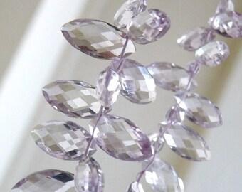 Pink Amethyst Gemstone Briolette Marquis drop 18.5 to 20mm 3 beads