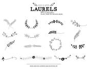 Laurels Digital Stamp - Laurel Wreath Clip Art - Floral Wreath Photoshop Brush - Photoshop Brushes - Laurel Outlines