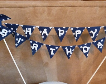 Cake Topper HAPPY BIRTHDAY - Unique Blue White Polka Dots Pinwheel Flags Banner