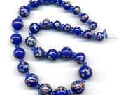 """Vintage Blue Millefiori Beads Graduated 12.5"""" Strand with Spacers Japanese Glass"""