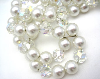 Vintage AB Crystal and Pearl Necklace