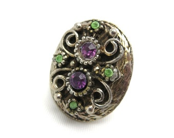 Boho Rhinestone Ring - Adjustable Chunky Purple & Green
