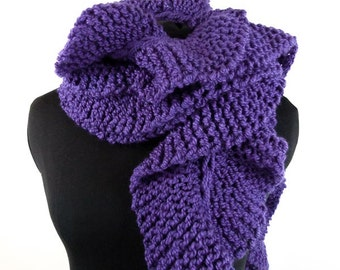 Chunky Hand Knit Scarf - Oregon Ruffle Scarf in Deep Periwinkle Blue - Item 1286