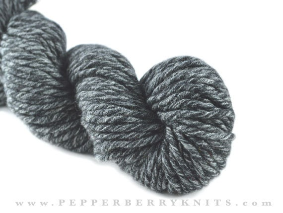 CASHMERE yarn bulky weight hand plied in the USA Storm grey colors