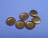 Vintage 7mm Brass Serrated Edge Round Flat Back Settings for Flat Back Rhinestones or Cabs (12 pieces)