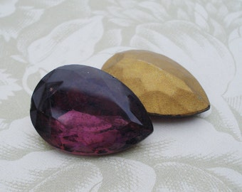 Vintage 25x18mm Amethyst Purple Pear/Teardrop Gold Foiled Pointed Back Faceted Glass Jewel (1 piece) 1088-AP