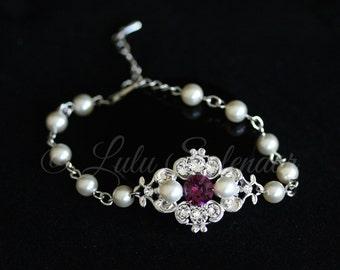 Bridal Wedding Bracelet Crystal Bridal Bracelet Choose your Color Pearl Rhinestone Wedding Jewelry LEILA COLOR